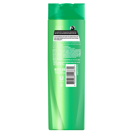 A bottle of Strong and Long Shampoo 180ml back of pack image